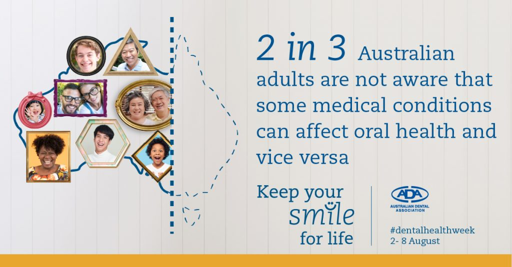 2 in 3 australian adults are not aware that some medical conditions can affect oral health and vice versa